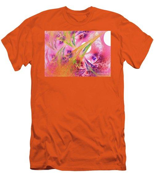Men's T-Shirt (Slim Fit) featuring the digital art Pink Web by Deborah Benoit