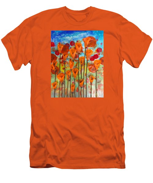 Poppies Make Me Happy Men's T-Shirt (Athletic Fit)