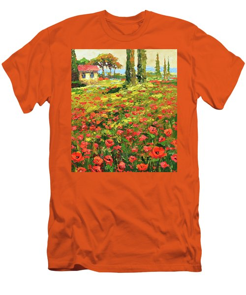 Poppies Near The Village Men's T-Shirt (Slim Fit)