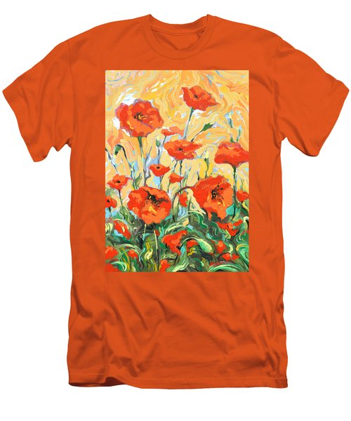 Poppies On A Yellow            Men's T-Shirt (Athletic Fit)