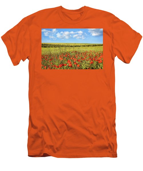 Poppy Fields Men's T-Shirt (Slim Fit) by Marion McCristall