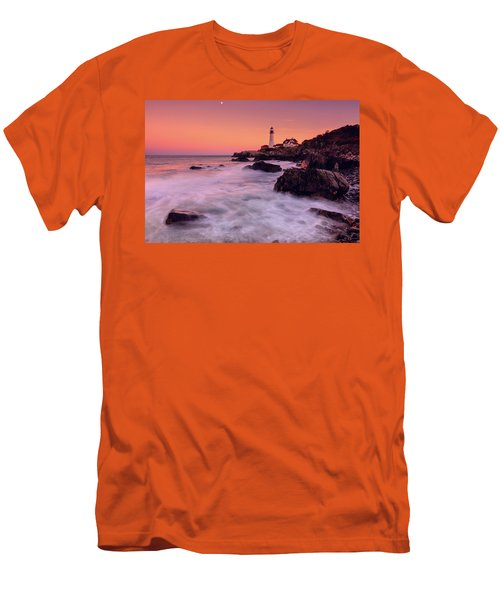 Men's T-Shirt (Slim Fit) featuring the photograph Portland Head Light In Pink  by Emmanuel Panagiotakis