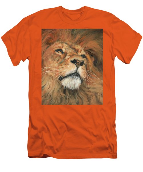 Men's T-Shirt (Slim Fit) featuring the painting Portrait Of A Lion by David Stribbling