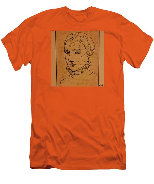 Men's T-Shirt (Slim Fit) featuring the drawing Portrait Of Anne by Bill OConnor