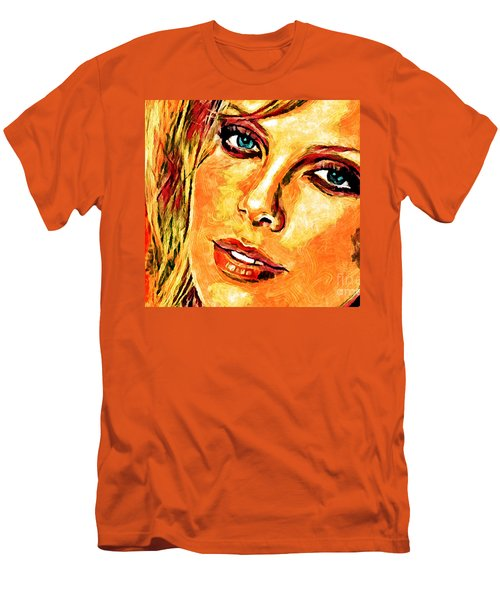 Portrait Of Charlize Theron Men's T-Shirt (Slim Fit) by Zedi
