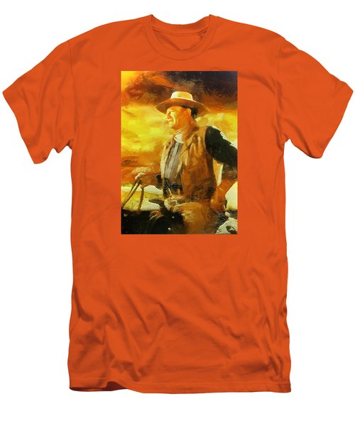 Men's T-Shirt (Slim Fit) featuring the digital art Portrait Of John Wayne by Charmaine Zoe