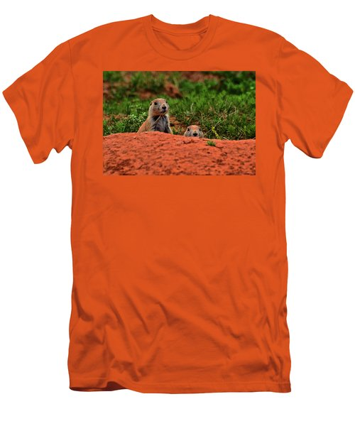 Men's T-Shirt (Slim Fit) featuring the photograph Prairie Dogs 004 by George Bostian