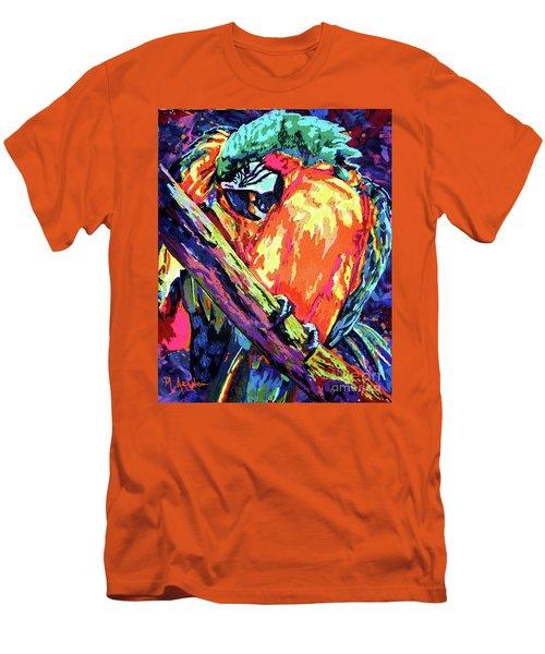 Preening Macaw Men's T-Shirt (Slim Fit) by Maria Arango