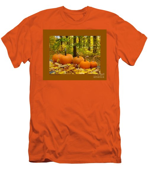 Pumpkins And Woods-iii Men's T-Shirt (Slim Fit) by Patricia Overmoyer
