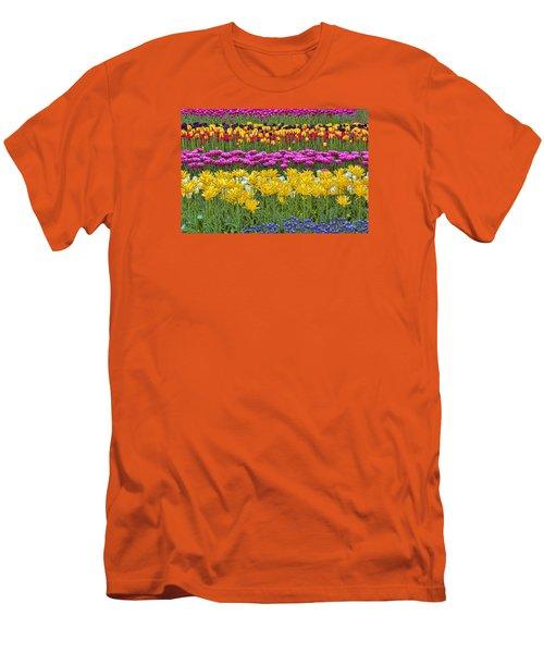 Rainbow Flowers Men's T-Shirt (Slim Fit) by Nadia Sanowar