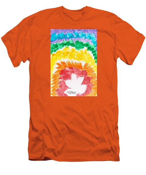 Men's T-Shirt (Slim Fit) featuring the painting Rainbow Leaf by Artists With Autism Inc