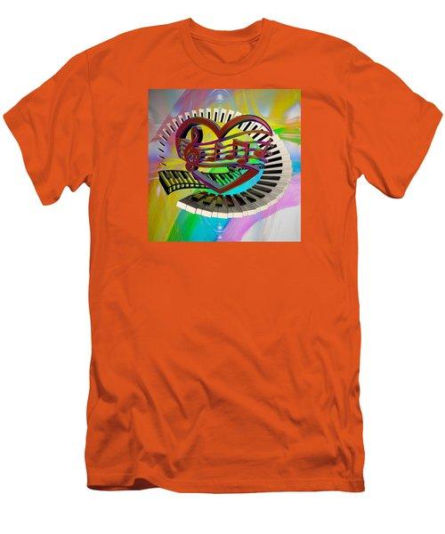 Rainbow Love Of Music  Men's T-Shirt (Slim Fit) by Louis Ferreira