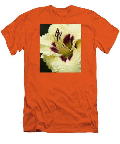 Raindrops On A Petal Men's T-Shirt (Slim Fit) by Tiffany Erdman
