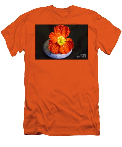 Men's T-Shirt (Slim Fit) featuring the photograph Raindrops On Poppy  by Jeanette French