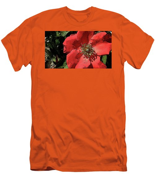 Rambling Rose Men's T-Shirt (Slim Fit) by Donna G Smith