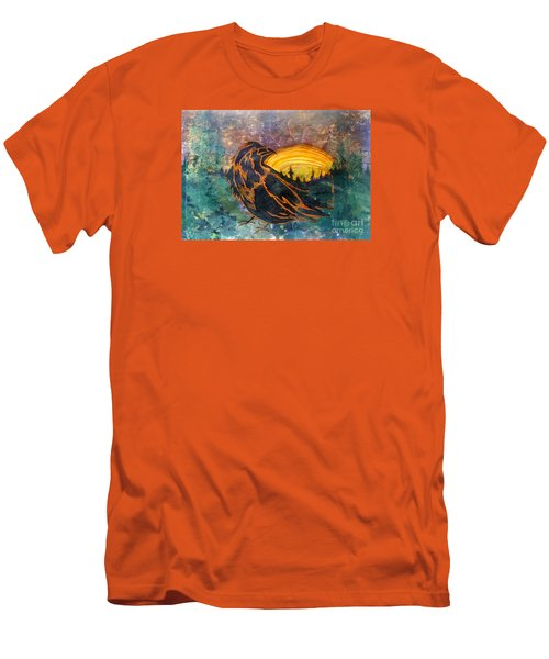 Men's T-Shirt (Slim Fit) featuring the mixed media Raven Of The Woods by Cynthia Lagoudakis