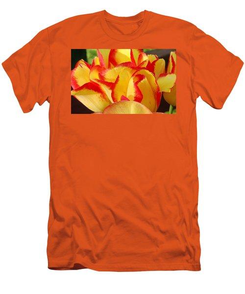 Red-edged Tulips Men's T-Shirt (Slim Fit) by Karen Molenaar Terrell