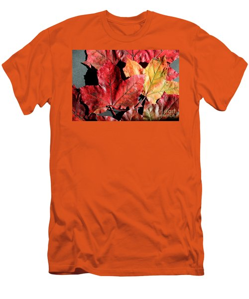 Men's T-Shirt (Slim Fit) featuring the photograph Red Maple Leaves Digital Painting by Barbara Griffin