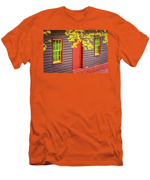 Red Mill Door In Fall Men's T-Shirt (Athletic Fit)