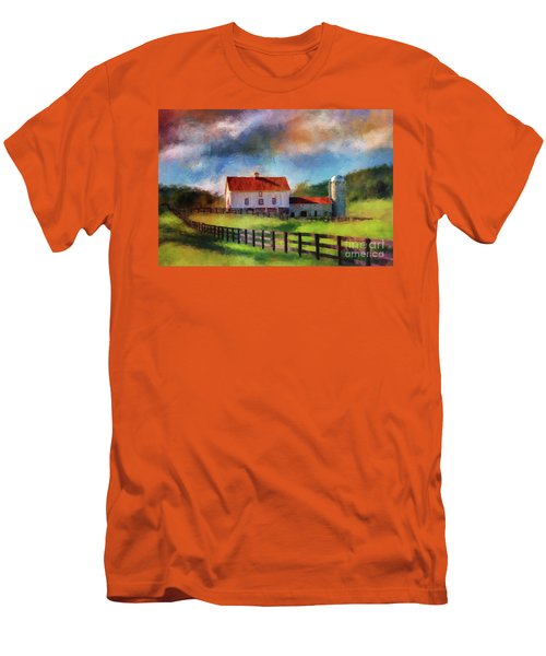 Men's T-Shirt (Slim Fit) featuring the digital art Red Roof Barn by Lois Bryan