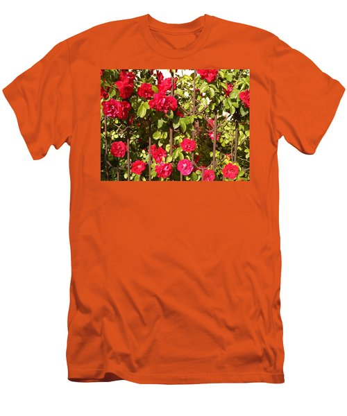 Red Roses In Summertime Men's T-Shirt (Slim Fit) by Arletta Cwalina