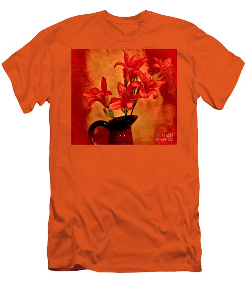 Red Tigerlilies In A Pitcher Men's T-Shirt (Athletic Fit)