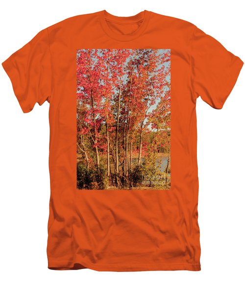 Men's T-Shirt (Slim Fit) featuring the photograph Red Trees by Iris Greenwell
