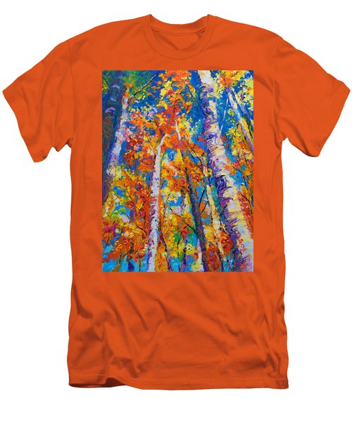 Redemption - Fall Birch And Aspen Men's T-Shirt (Slim Fit) by Talya Johnson