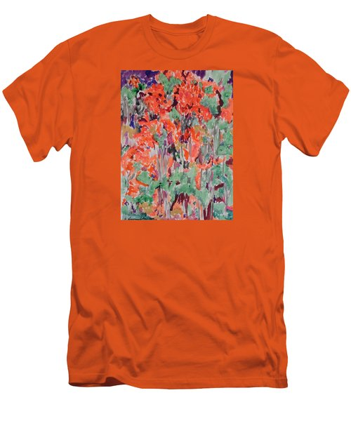 Regal Red Fall Foliage Men's T-Shirt (Slim Fit) by Esther Newman-Cohen