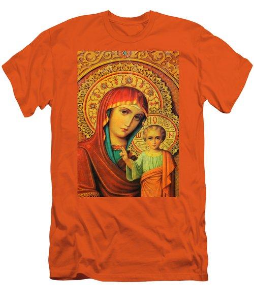 Religion In Red Men's T-Shirt (Slim Fit) by Munir Alawi