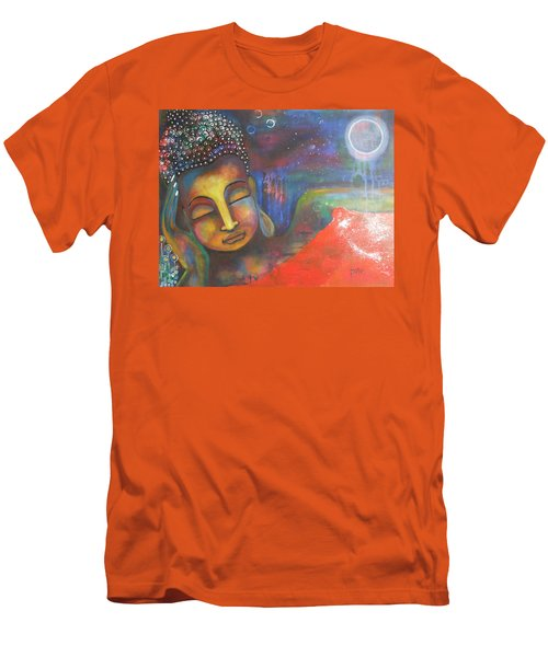 Men's T-Shirt (Slim Fit) featuring the painting Buddha Resting Under The Full Moon  by Prerna Poojara