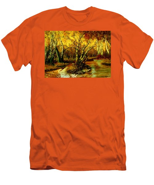 Men's T-Shirt (Slim Fit) featuring the painting River In The Forest by Henryk Gorecki