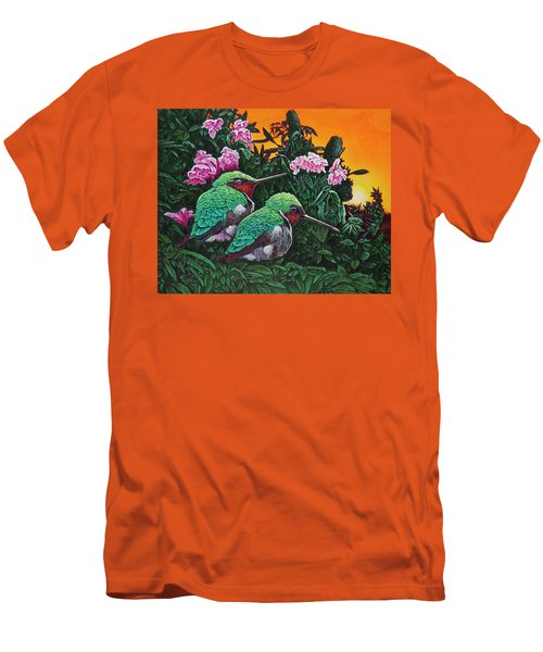 Men's T-Shirt (Slim Fit) featuring the painting Ruby-throated Hummingbirds by Michael Frank
