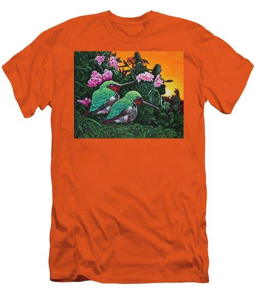 Ruby-throated Hummingbirds Men's T-Shirt (Slim Fit) by Michael Frank