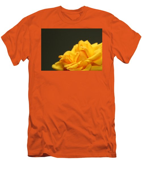 Men's T-Shirt (Slim Fit) featuring the painting Saffron Mini Rose by Marna Edwards Flavell