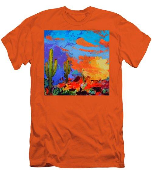Saguaros Land Sunset By Elise Palmigiani - Square Version Men's T-Shirt (Athletic Fit)