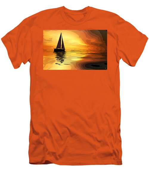 Sailboat At Sunset Men's T-Shirt (Slim Fit) by Charles Shoup