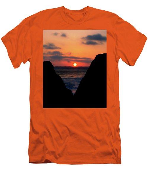 San Clemente Beach Rock View Sunset Portrait Men's T-Shirt (Slim Fit) by Matt Harang