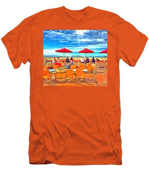 San Francisco Skyline From Alameda  Men's T-Shirt (Slim Fit) by Linda Weinstock