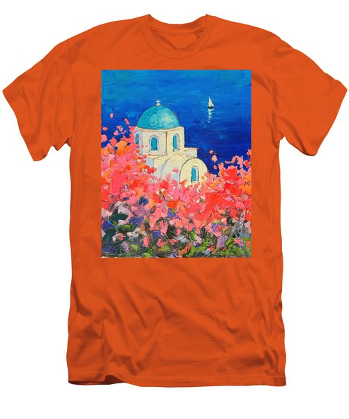 Santorini Impression - Full Bloom In Santorini Greece Men's T-Shirt (Slim Fit) by Ana Maria Edulescu