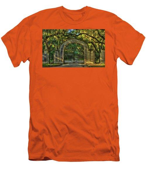 Men's T-Shirt (Slim Fit) featuring the photograph Savannah's Wormsloe Plantation Gate Live Oak Alley Art by Reid Callaway