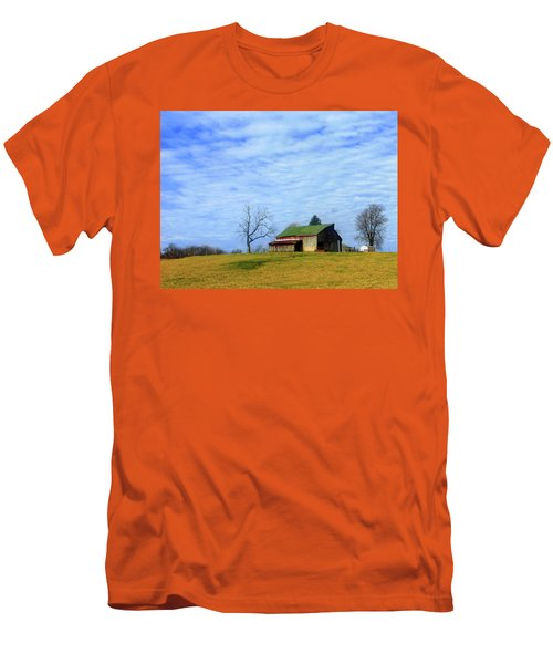 Serenity Barn And Blue Skies Men's T-Shirt (Slim Fit) by Tina M Wenger