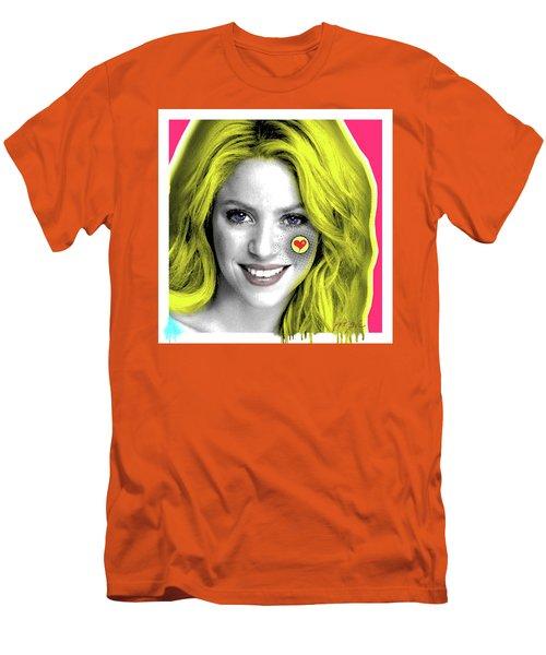 Shakira, Pop Art, Pop Art, Portrait, Contemporary Art On Canvas, Famous Celebrities Men's T-Shirt (Slim Fit)