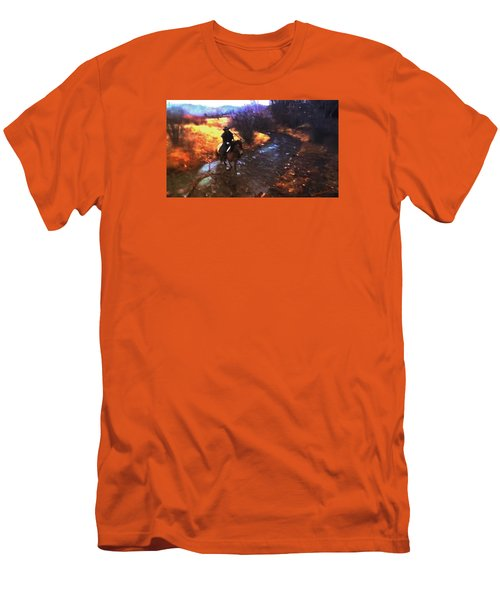 She Rides A Mustang-wrangler In The Rain Men's T-Shirt (Slim Fit) by Anastasia Savage Ealy