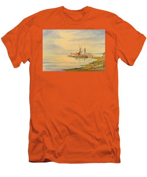 Men's T-Shirt (Slim Fit) featuring the painting Shrimp Boat Sunset by Bill Holkham