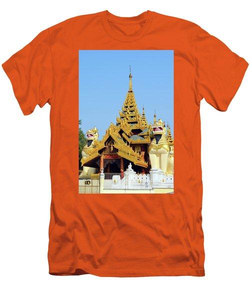Men's T-Shirt (Slim Fit) featuring the digital art Shwedagon Pagoda 1 by Eva Kaufman