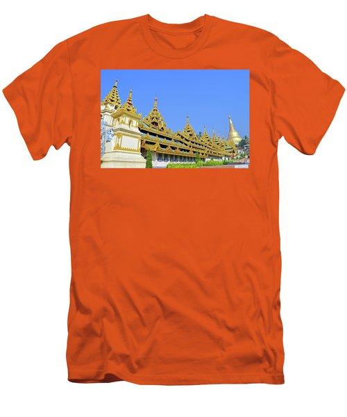 Men's T-Shirt (Slim Fit) featuring the digital art Shwedagon Pagoda  by Eva Kaufman