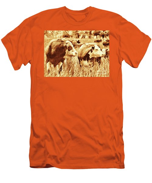 Men's T-Shirt (Slim Fit) featuring the photograph Simmental Bull 3 by Larry Campbell
