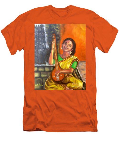Men's T-Shirt (Slim Fit) featuring the painting Singing @ Sunrise  by Brindha Naveen