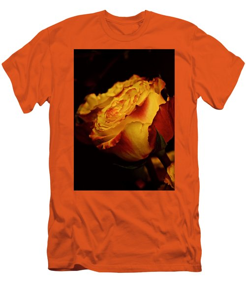 Men's T-Shirt (Slim Fit) featuring the photograph Single March Vintage Rose by Richard Cummings